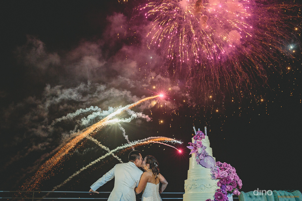 wedding fireworks light up night sky in photo by cabo photograph