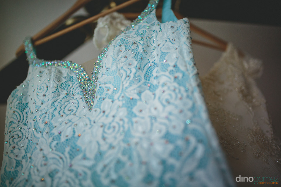baby blue designer wedding dress worn by canadian bride at desti