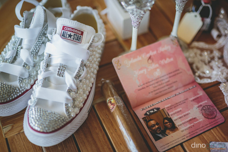 pink novelty wedding passport and pearl and diamond encrusted co