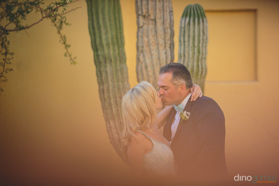 newlyweds kiss in front of cactus at riu santa fe destination we