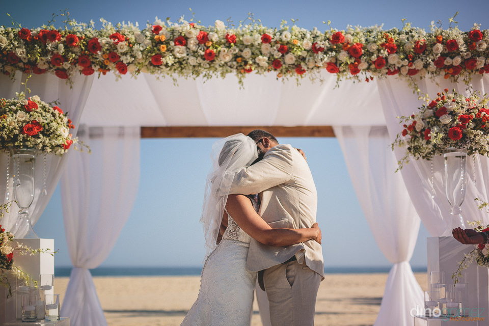 dream wedding ceremony in los cabos newlyweds kissing after gett