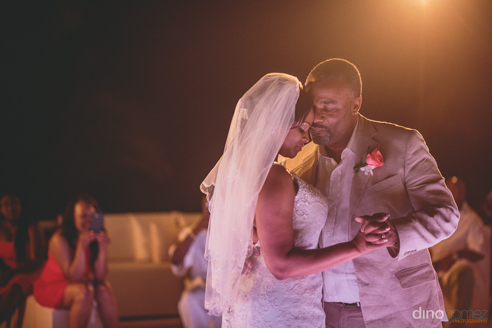 first dance of newlyweds at destination wedding at barcelo grand