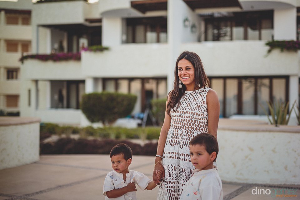 bride and young sons at the beautiful las ventanas resort for an