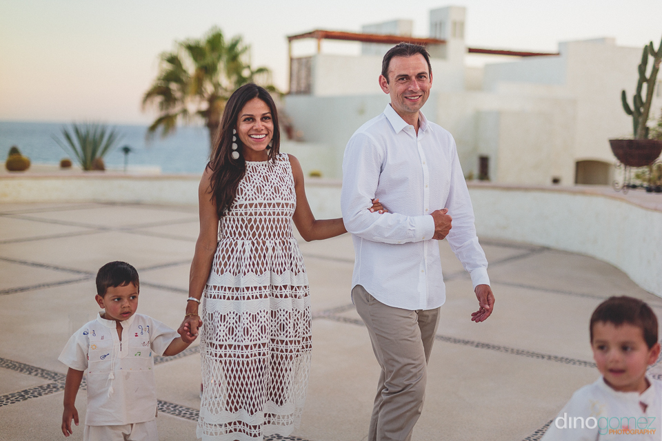 just-married couple with kids at las ventanas al paraiso wedding