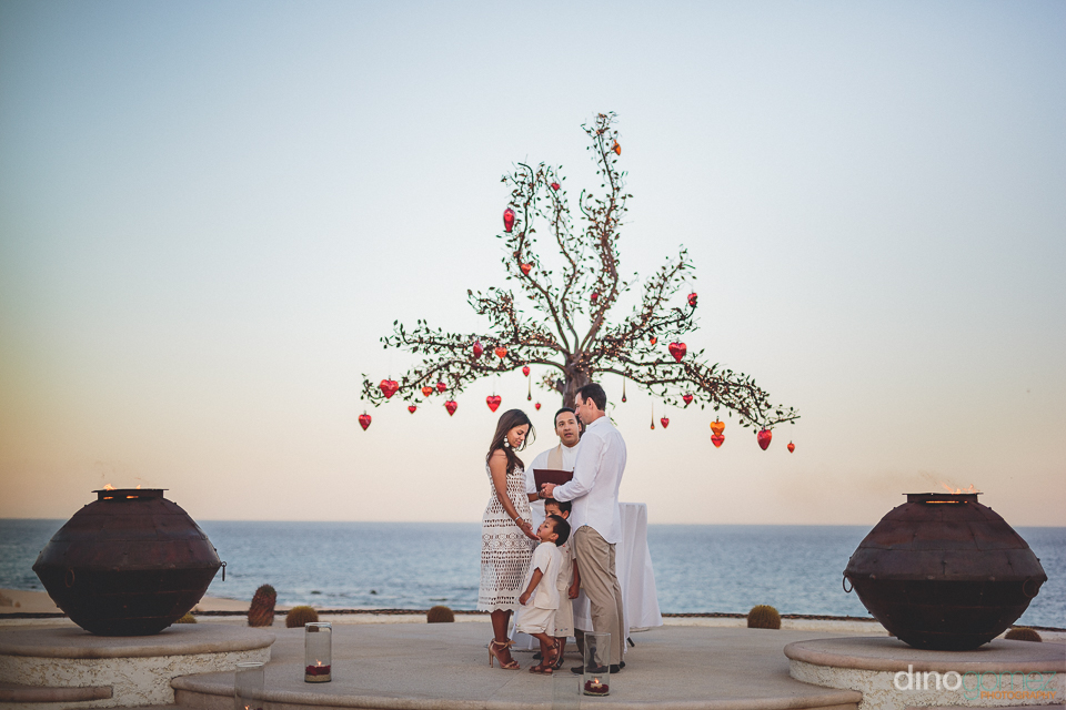 wedding ceremony at beachside altar at las ventanas hotel resort