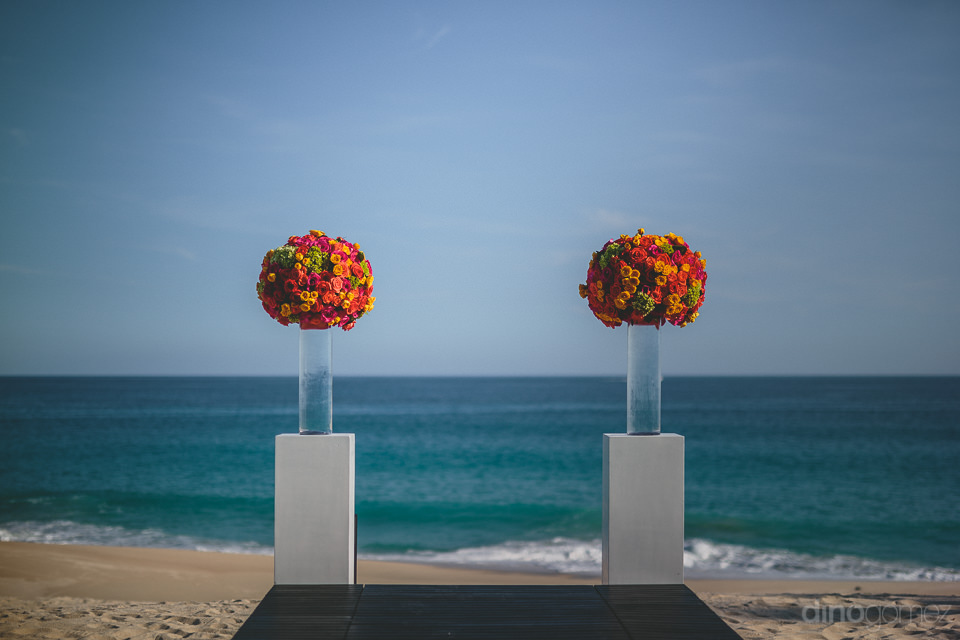 el dorado exclusive beach wedding with bright floral arrangement