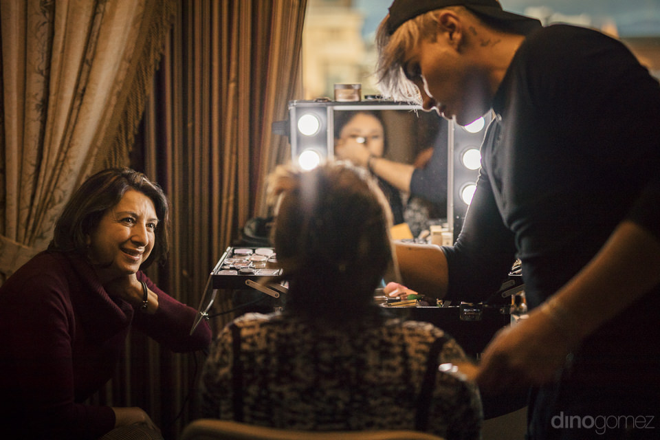 bride having her makeup done before her star wars themed wedding
