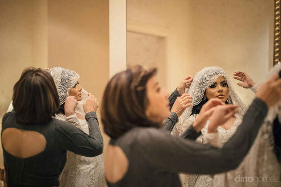 bride finishes putting on star wars inspired wedding dress in ph