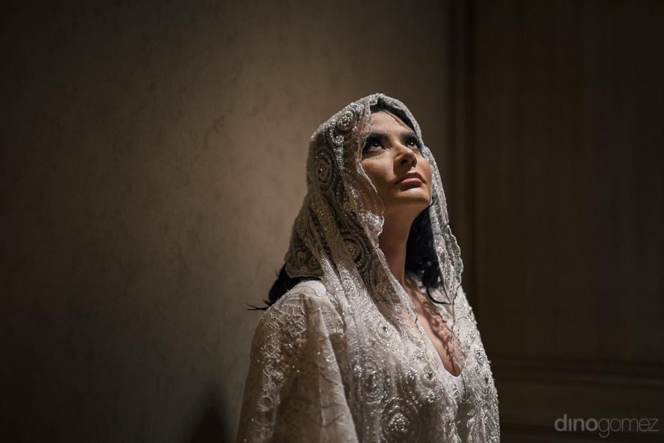 dark and atmospheric photo of bride before star wars themed wedd