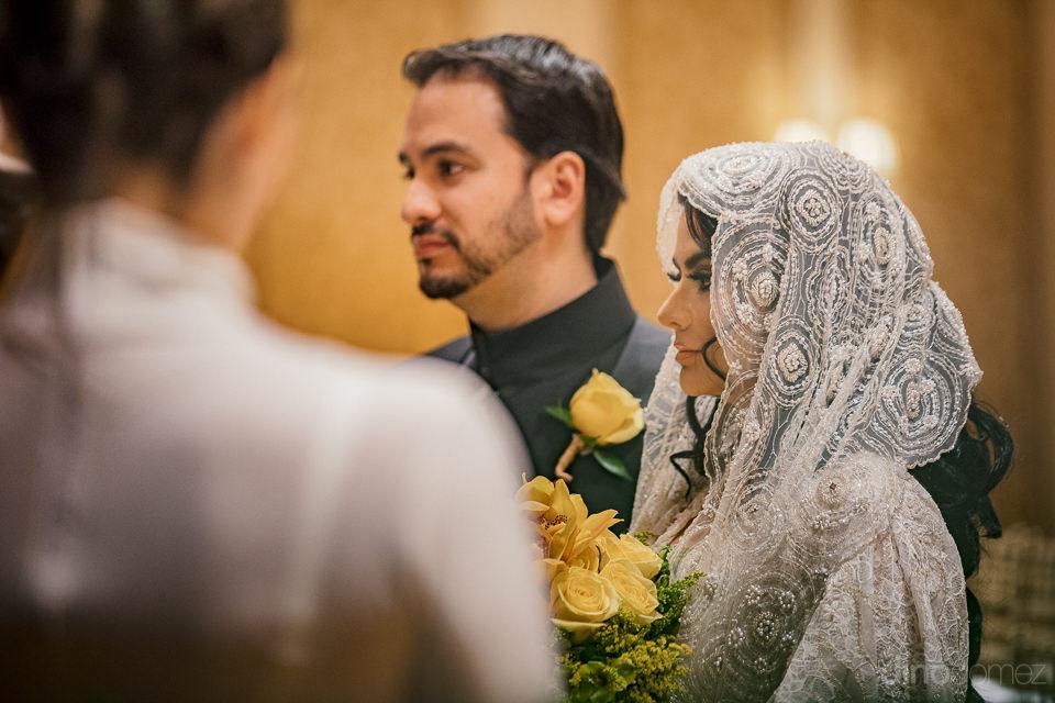 star wars dressed bride and groom together at altar in destinati
