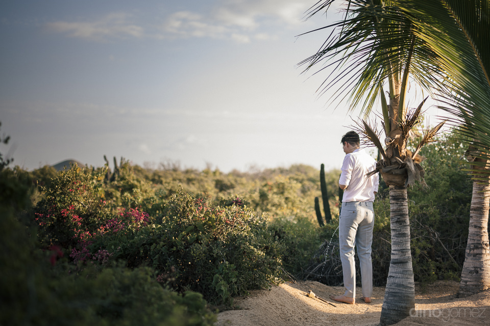 wedding guest relieves himself in the bushes on the beach before