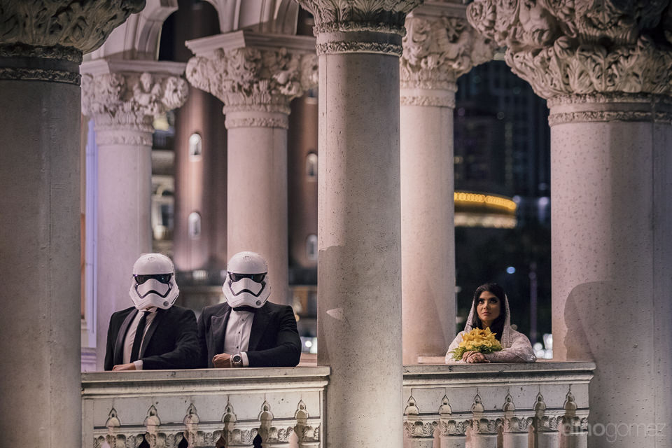 bride waits hoping for jedi groom to rescue her in theme destina