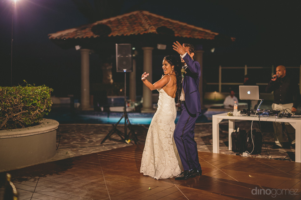 cabo san lucas disc jockey dj gets newlyweds on dance floor at l