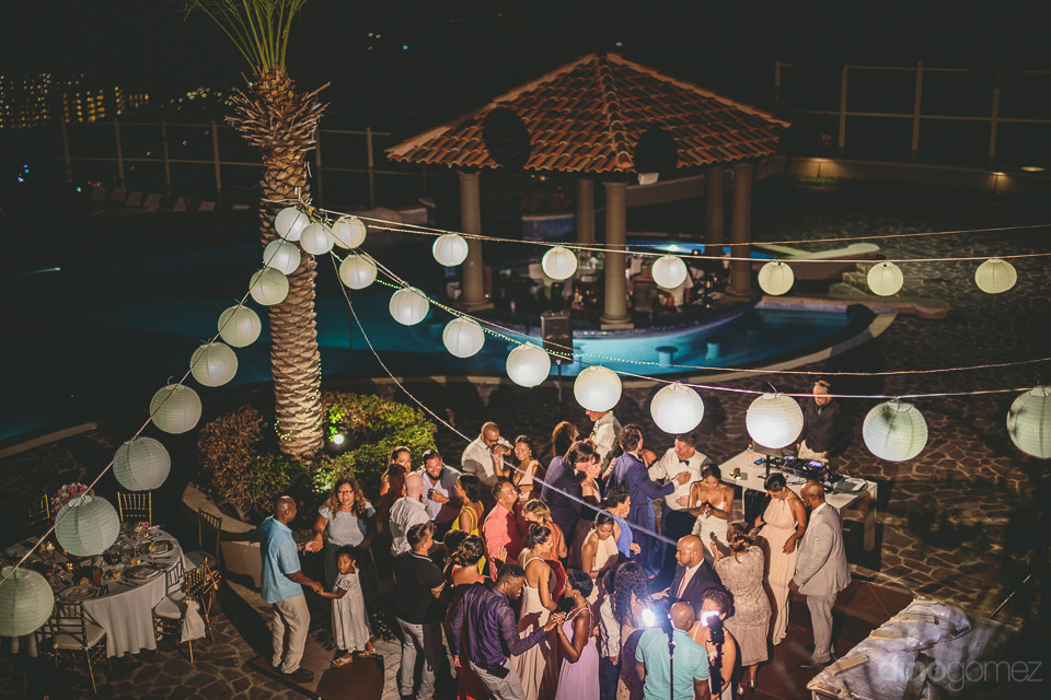 view of wedding reception dance floor at night from above guests