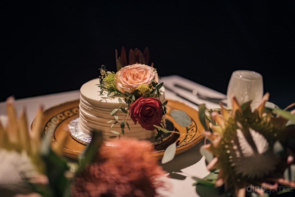 wedding cake before cake cutting ceremony at mexico destination