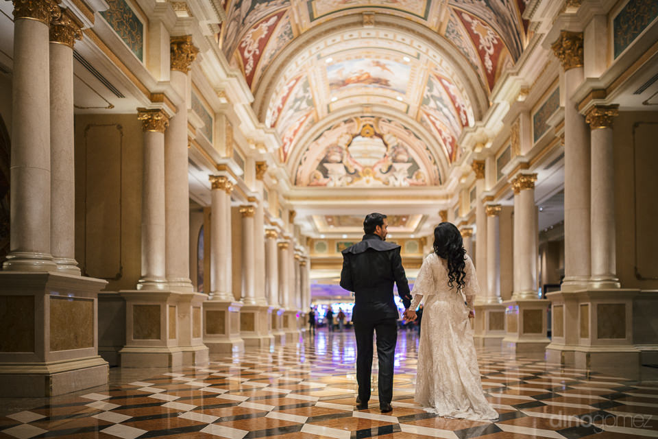 magnificent interior of venetian hotel las vegas newlyweds walki