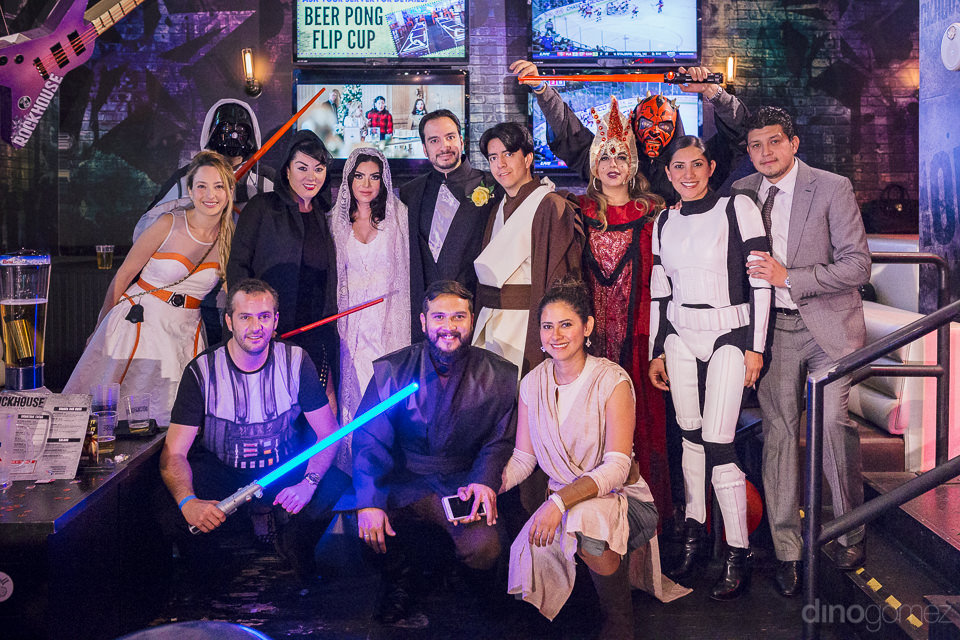 photo of entire wedding party dressed as various star wars chara