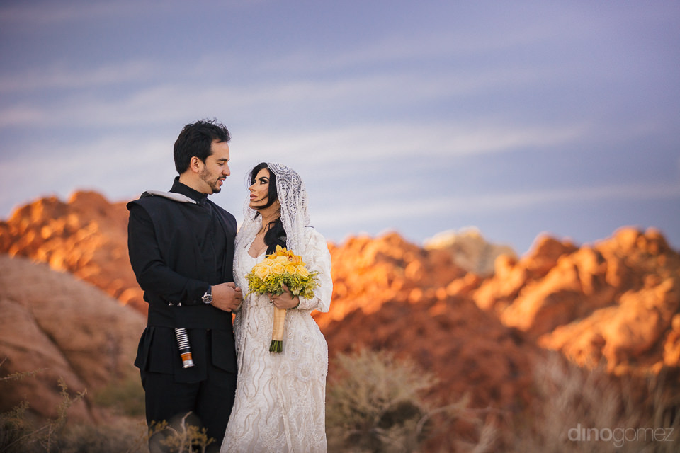 stunning color on the red nevada mountains and clear blue sky on