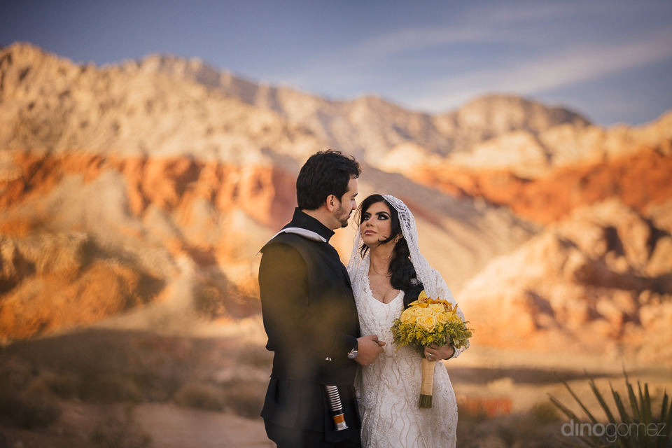 striated desert mountains with newlyweds dressed as star wars je