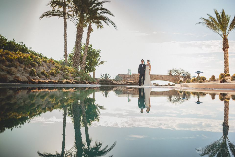 newlyweds at high-end luxury resort in los cabos mexico