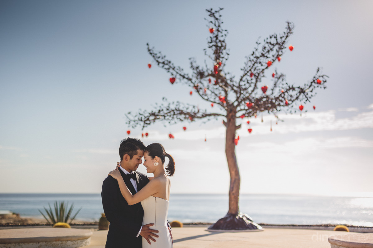 newlywed couple embrace under tree adorned with hearts with ocea