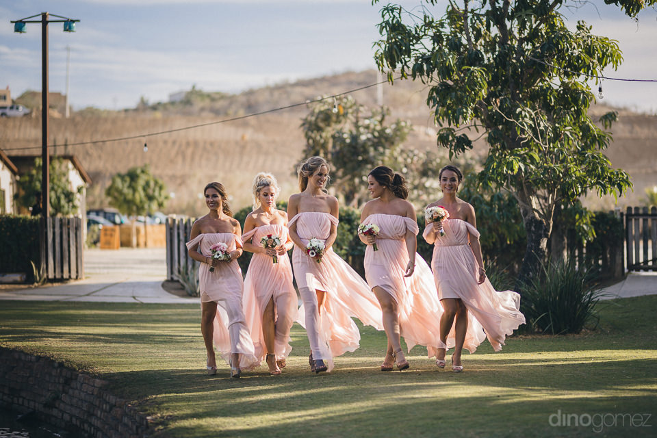 bride bridesmaids wear matching pink wedding dresses arrive to w