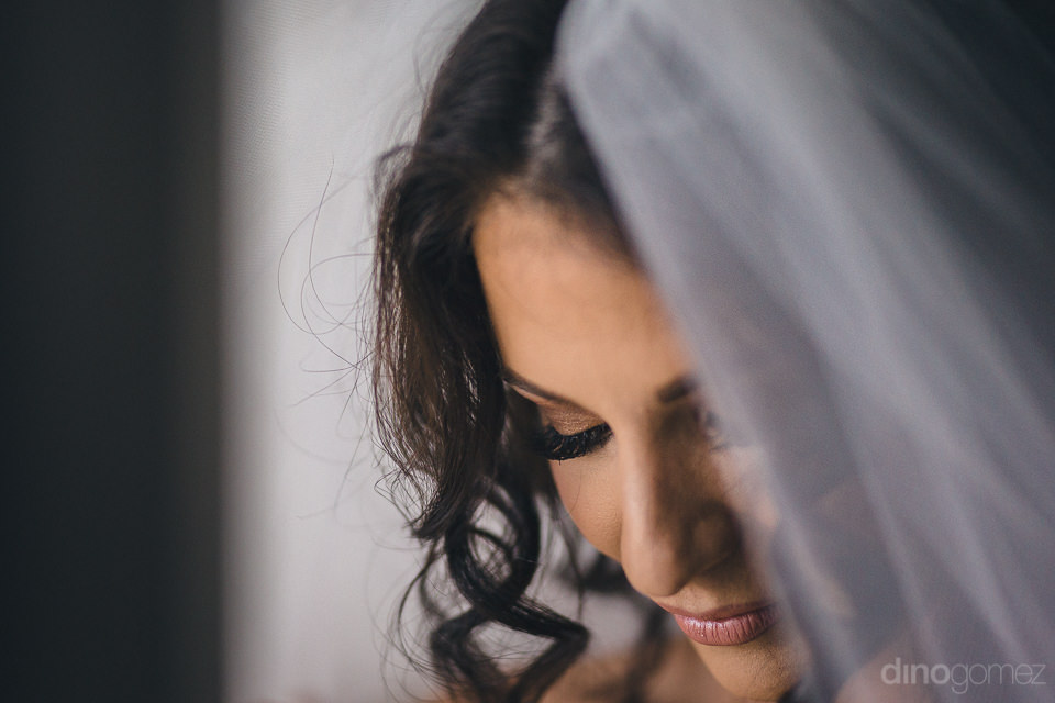 closeup photo of bride wearing her wedding veil