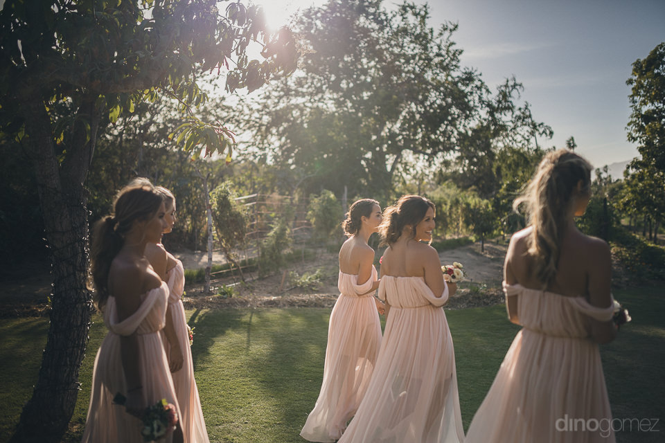 bridesmaids holding bouquets in pink dresses walk through garden