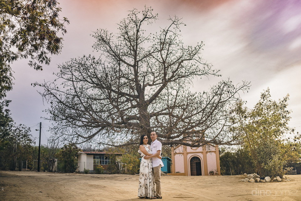 newlyweds stand in front of a huge tree with many branches in th