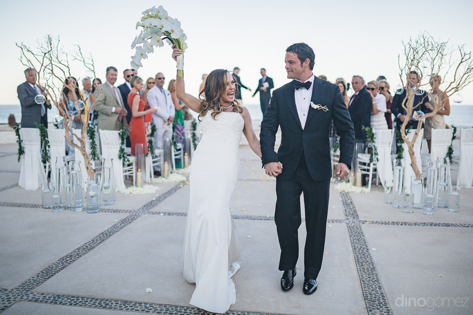 beautiful destination wedding ceremony at luxury resort in mexic