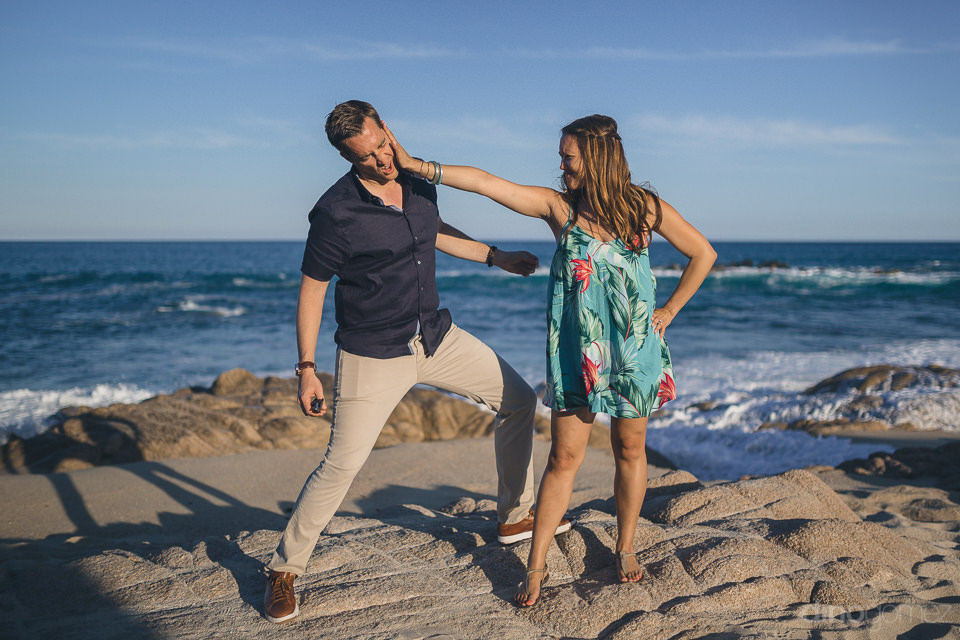 engagement photo shoot on the beach in cabo by dino gomez