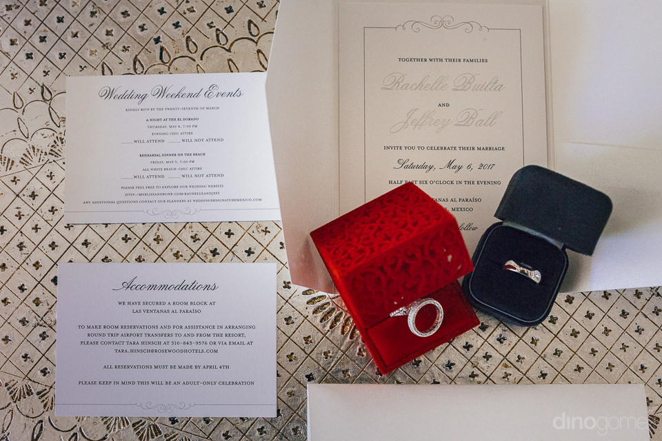 wedding rings and wedding invitations in photo by wedding photog