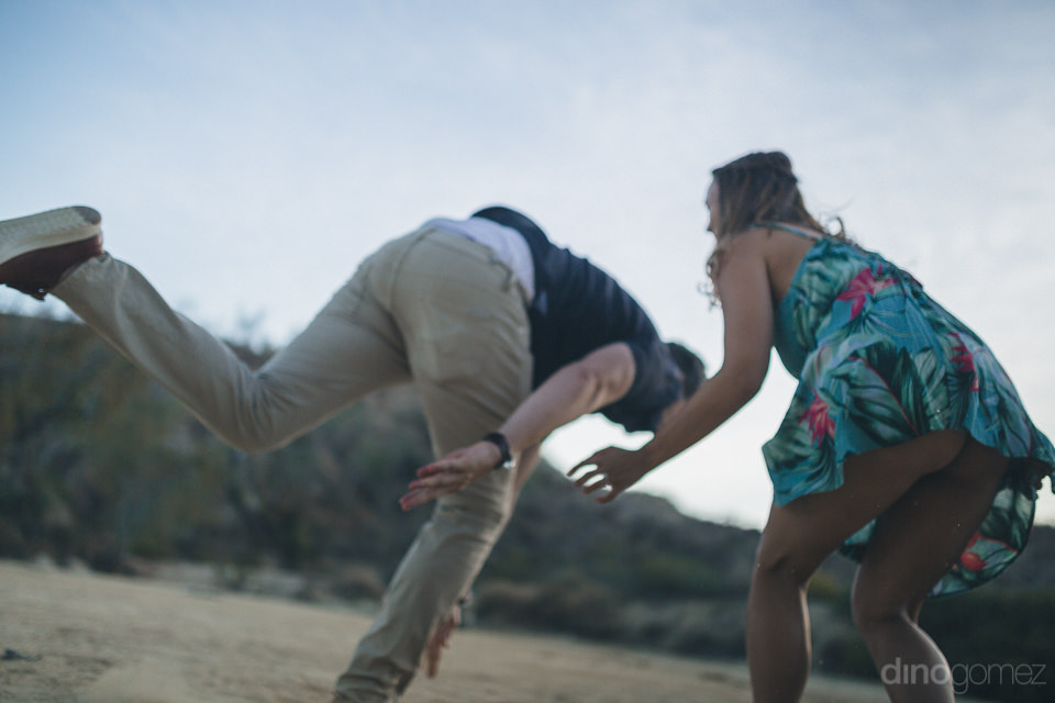 unique fun engagement photo in los cabos mexico