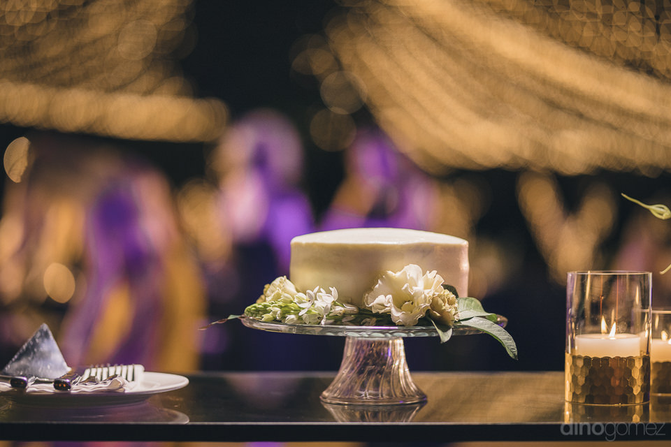 chic white wedding cake at boho farm wedding in los cabos