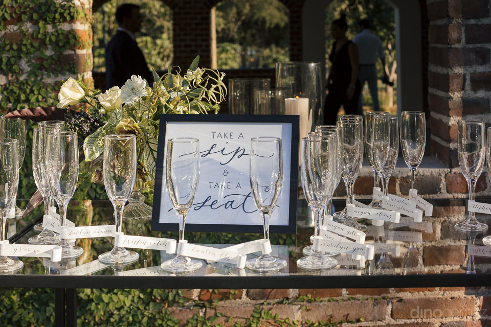 champagne glasses on table for wedding guests of luxury flora fa