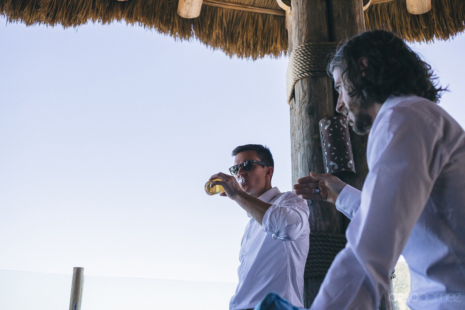 Boys drinking beer before the ceremony