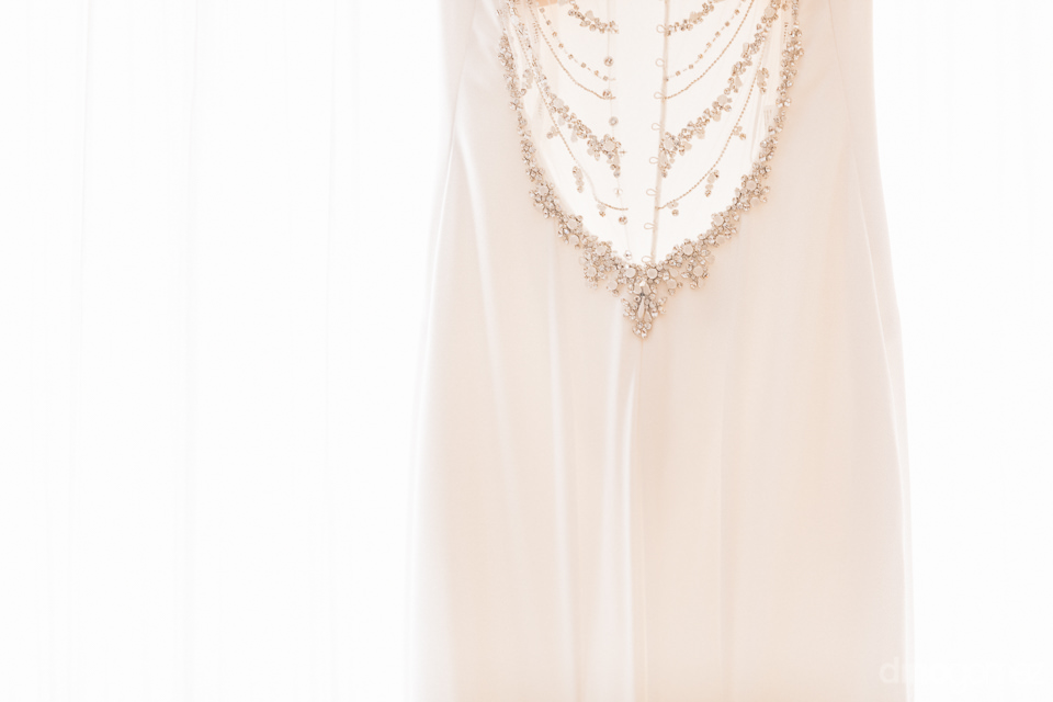 Photo of Kara's dress on a white background