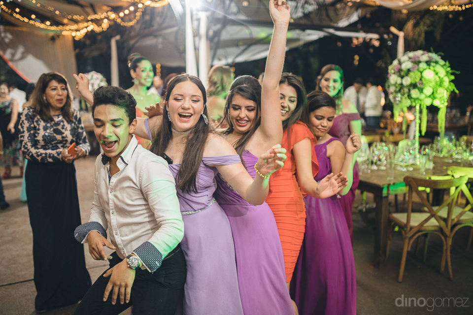 bridesmaids dance at wedding reception at mexican hacienda in ph