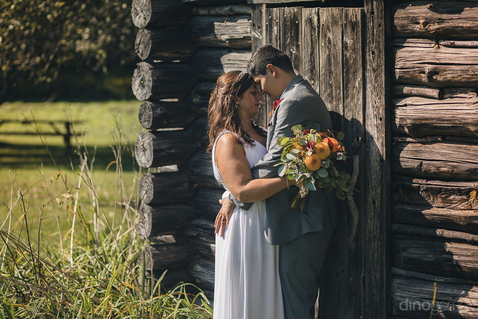 countryside wedding in new york newlyweds next to log cabin