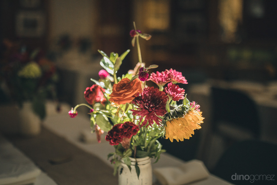 radiant floral centerpieces at upstate new york wedding in the w