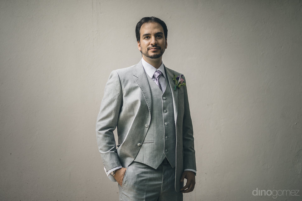 photo of groom on wedding day at hacienda casasano in mexico by