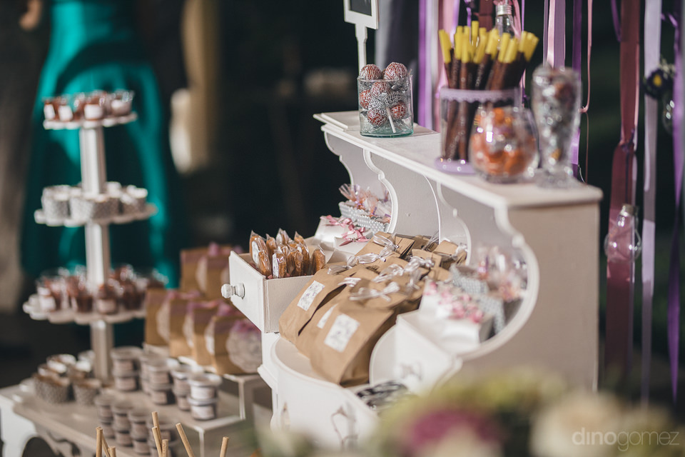 candies sweets and chocolates for wedding guests at mexican haci