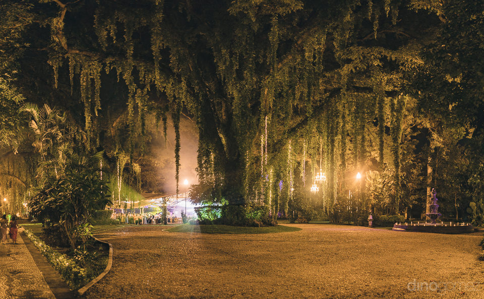 mexican hacienda illuminated at night for wedding reception