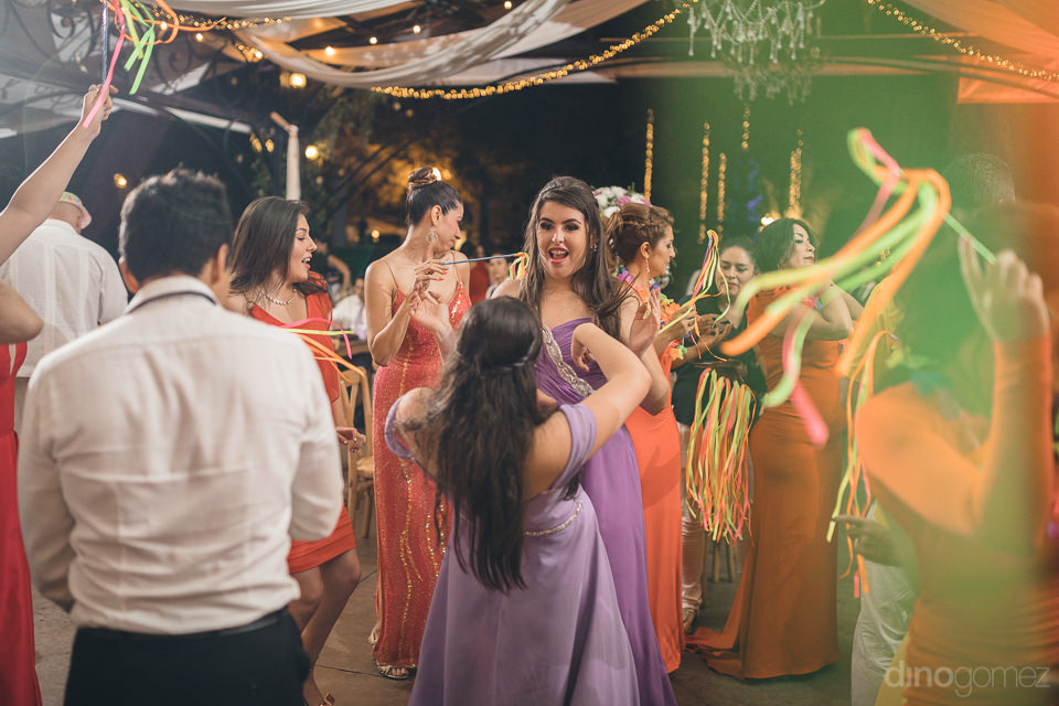 bridesmaids party and dance at mexico wedding reception