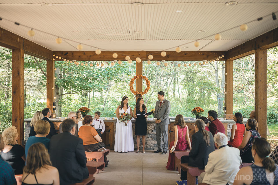 outdoor wedding ceremony in new york state nature reserve