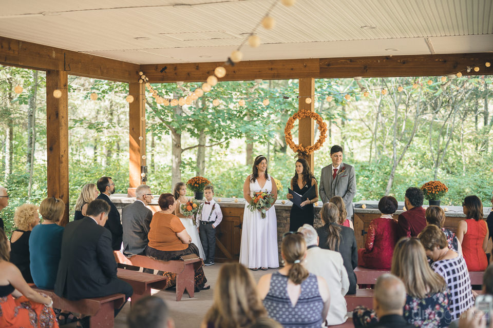 wedding ceremony in forest in upstate new york nature