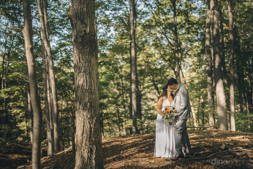 newlyweds wedding photo session in the woods in new york state
