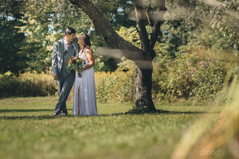 newlyweds together in field standing under tree in dream nature