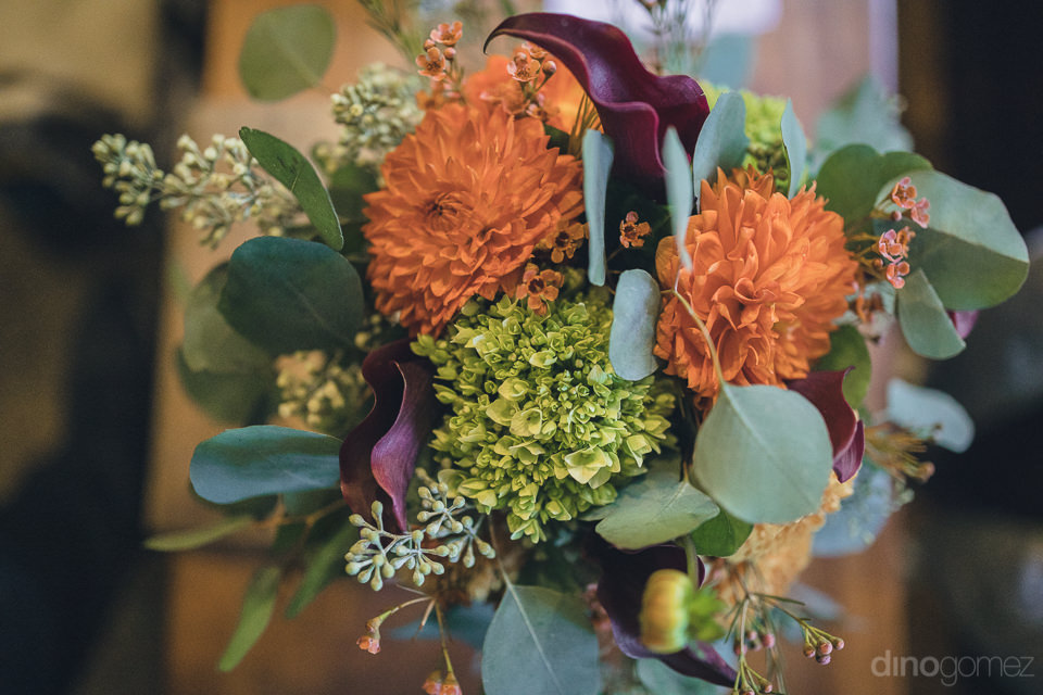 floral bouquet at outdoor wedding in the woods in new york photo