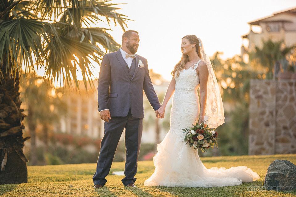wedding couple holding hands - Deirdre & Rob